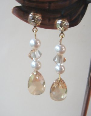 Pearl and Golden Shadow Pendant Earrings