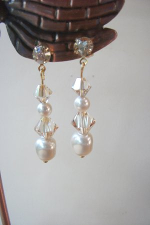 Pearl and Golden Shadow Drop Earrings
