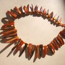 Shell Spike necklace - tangerine & bronze