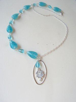 Aqua Crystal Lucky Charm necklace