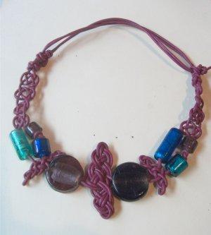Bead and Leather Necklace - fushia