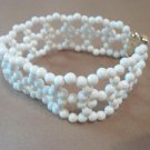 Ivory & Gold Woven Pearl Bracelet