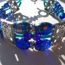 Cobalt, teal and silver bracelet