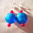 Iridescent Royal Blue & Ruby Retro Earrings