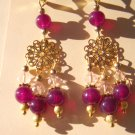 Crimson and Gold Chandelier Earrings