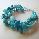 Aqua and turquoise beaded bracelet