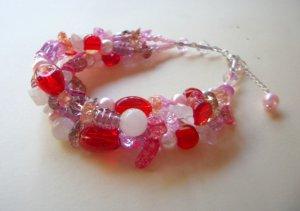 Pink, Tangerine, Ruby and Topaz Beaded Bracelet