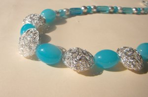 Aqua and Silver Bead Necklace