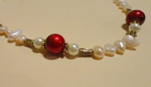 Freshwater Ivory Pearl and Red Necklance