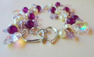 Amethyst and Heart Bracelet