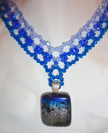 Woven Sapphire Choker with Dichroic Pendant