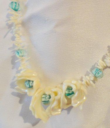 Ocean Charm - Shell, Coral & Aqua Necklace