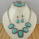 Sets  Silver Turquoise Necklace Bracelet earring