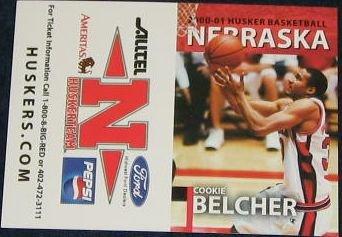 00-01 Nebraska Basketball Pocket Sked. Cookie Belcher