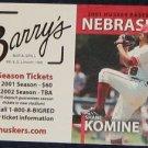 2001 Nebraska Baseball Pocket Sked. Shane Komine