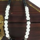 White and black glass pearl necklace