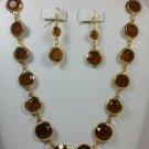 Dark Orange Porcelian Bead Necklace and Earring