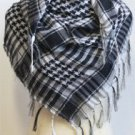 Desert Scarf Checked Arab Shemagh Arafat Keffiyeh Palestine Shawl - Black & White