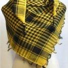 Desert Scarf Checked Arab Shemagh Arafat Keffiyeh Palestine Shawl - Black & Yellow