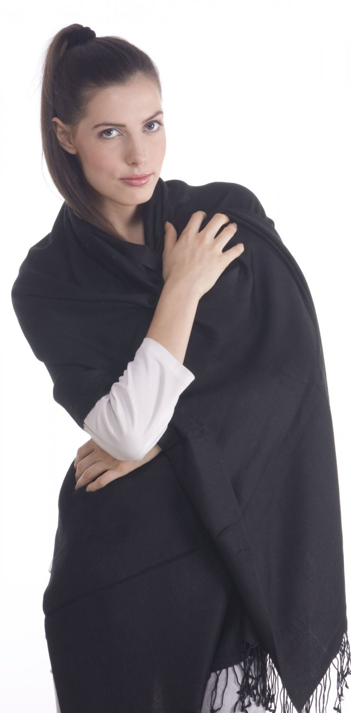 "Premium Viscose Pashmina Shawl Stole Wrap Scarf in Black (28"" X 78"")"