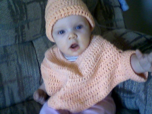 Hand crochet poncho with hat for baby girl
