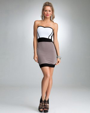 5c80716e103 bebe Sexy Strapless Black Trim Colorblock Bodycon Sweater Bandage Dress -  White   Gray - M