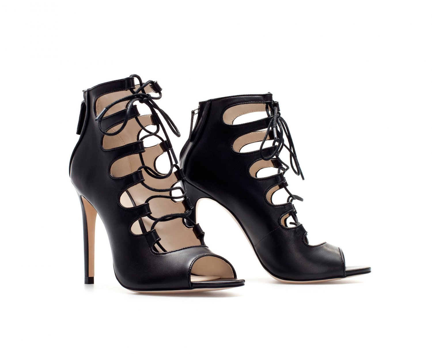 543d7ddf40a BLOG FAVORITE ZARA Leather Strappy Lace Up Ankle Boot Bootie High Heel  Sandals - Black - 8 39