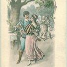 ART Nouveau Postcard Medieval Dancing Couple c1900