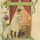 ART Nouveau Fantasy Postcard Dressing Woman Child