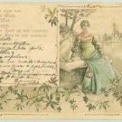 ART Nouveau Litho Embossed Postcard Girl on Bench 1902