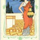 Art Nouveau Greek Girl w Vase Alabastron Litho Pc 1900