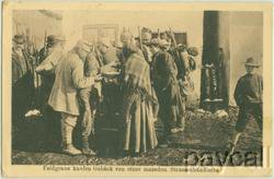 WW I Postcard Street Merchant in Macedonia Soldiers