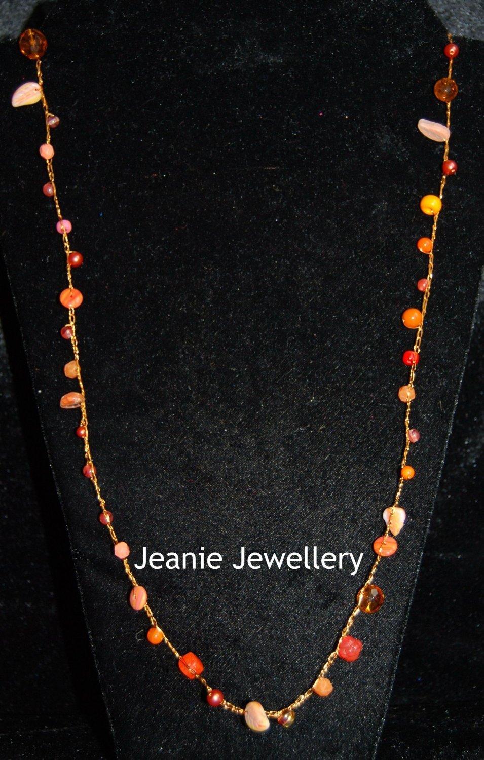 Orange Long Necklace made in Crochet  with Wire and Czech Glass Beads