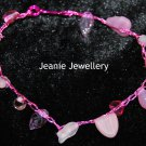 Pink Bracelet made in Crochet  with Wire and Czech Glass Beads
