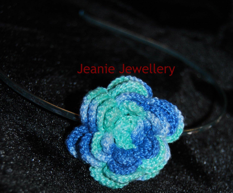 Blue and Green Crochet Flower Hairband
