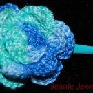 Blue and Green Crochet Flower Hair clip