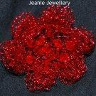 Red Crochet Flower Brooch