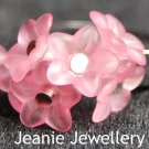 Set of Pink Flowers Bracelet, Earrings and Ring