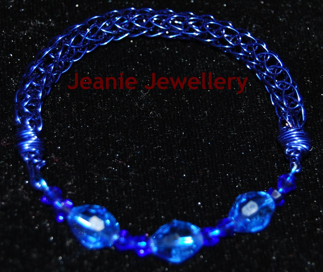 Blue Viking knitting Bracelet with Crystals