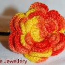 Orange and Yellow Crochet Flower Hairband