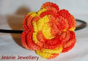 Orange and Yellow Crochet Flower Hairband
