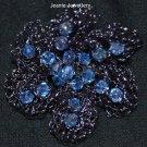 Blue Crochet Flower Brooch