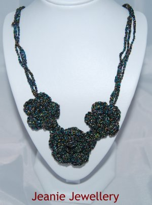 Black Multicolour Crochet Flower Necklace