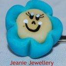Light Blue Biscuit Flower Hair Slide