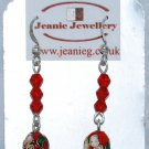 Red Crystal and Cloisonne Earrings