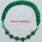Green Viking knitting Bracelet with Crystals