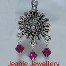 Fuchsia Crystal Chandelier Earrings