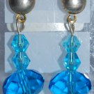 blue Swarovski and Chinese Crystal Earrings