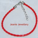 Red Leather Plaited Bracelet Cord