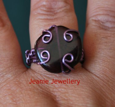 Purpe Wire Wrap Ring with purple Czech Glass Bead